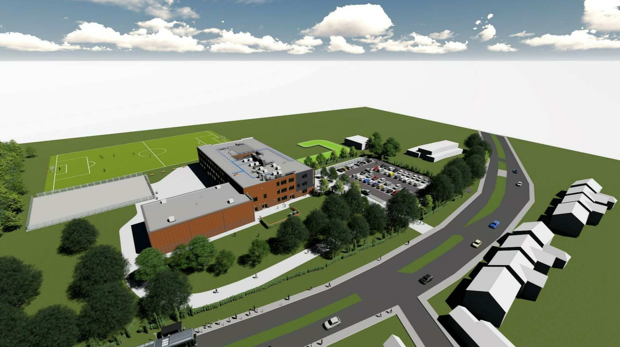 Artist's impression of how Chertsey High School will look when its new premises are ready