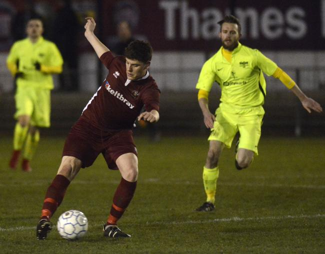 Virginia Water (maroon) suffered a 3-1 defeat against Binfield in the quarter-finals of the Hellenic League Floodlit Cup on Tuesday.