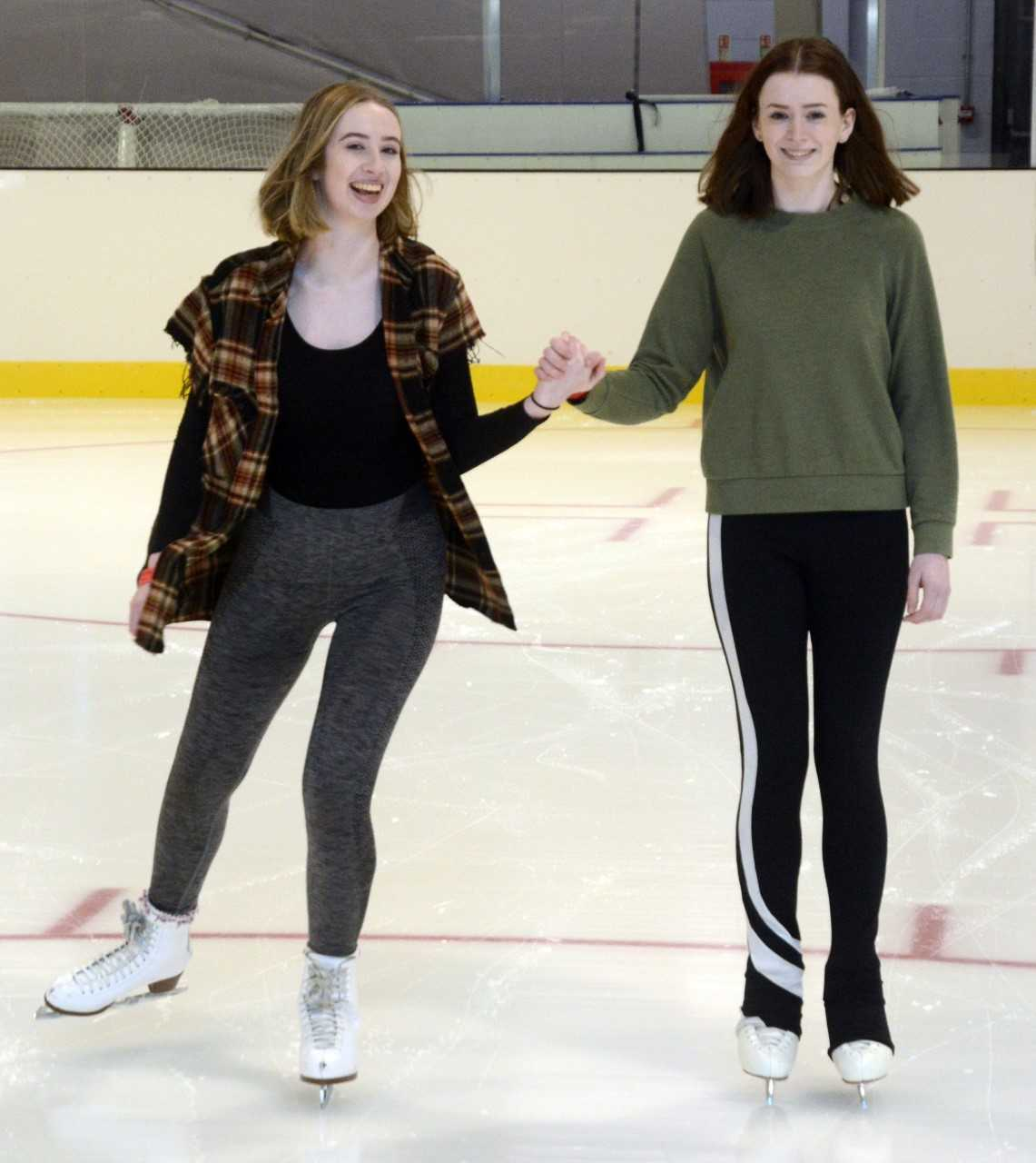 Mia Rosten, 17, and Jess Irvin, 17, both of Maidenhead - among the first people on the new ice arena