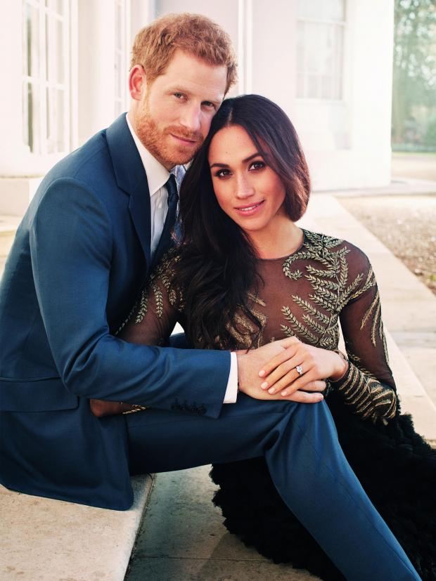 Villager: One of two official engagement photos released Kensington Palace of Prince Harry and Meghan Markle taken by Alexi Lubomirski earlier this week at Frogmore House, Windsor.