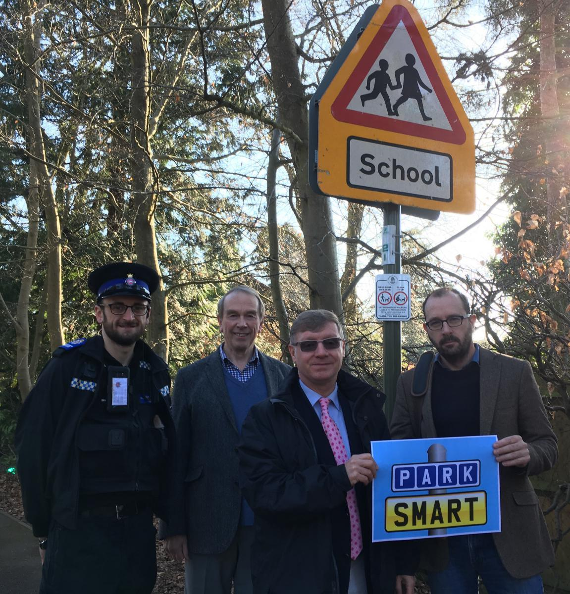 Cllr Bill Chapman, Geoffrey Palmer, Chair of Governors -Crawley Ridge Infant School, and David Oakley, Chair of Governors, Crawley Ridge Junior School, show their support