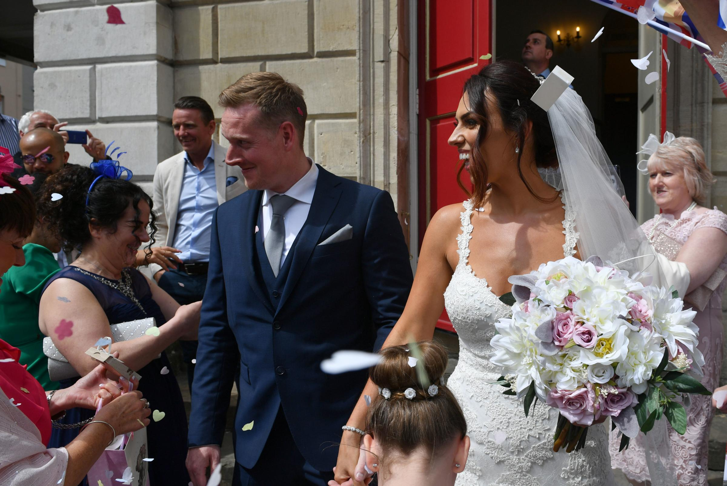 The Windsor wedding before Harry and Meghan's! Happy couple greeted by crowds