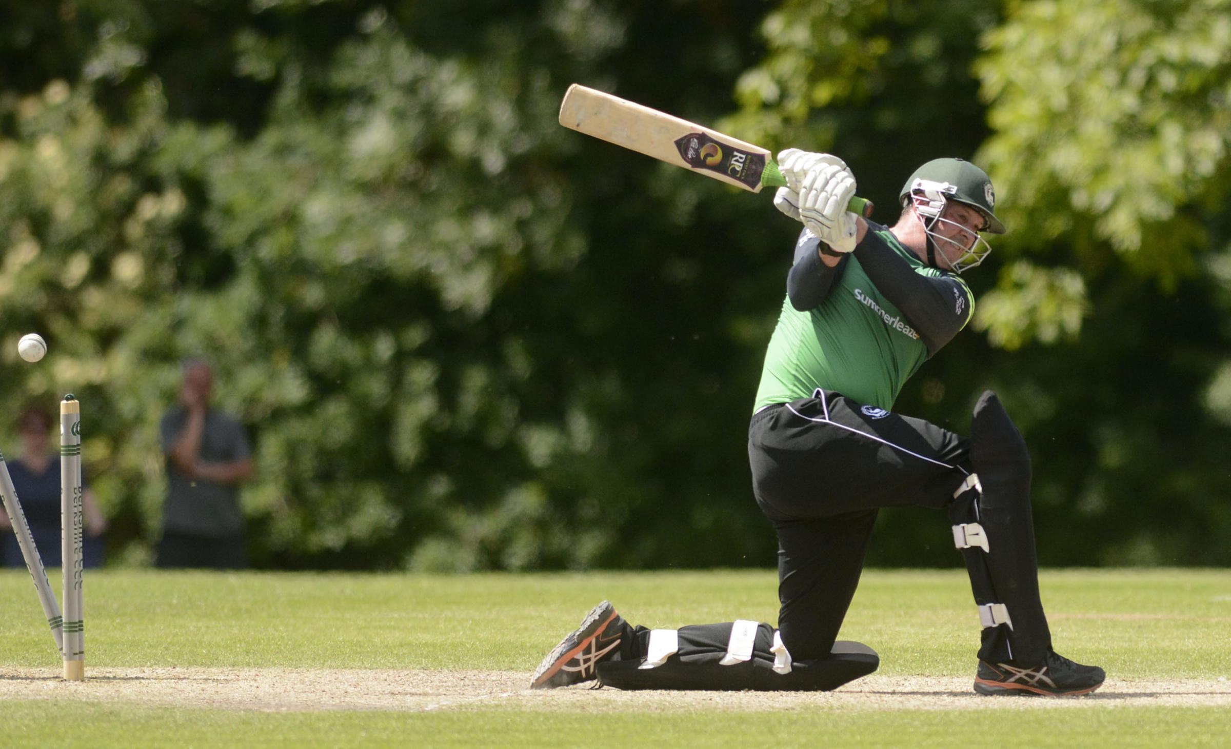 Berkshire's Chris Peploe is bowled   Picture by Paul Johns   180614