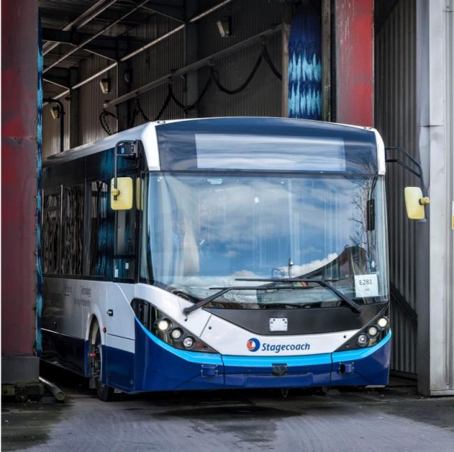 GROUNDBREAKING: Stagecoach's 11.5m ADL Enviro200 during a public demonstration