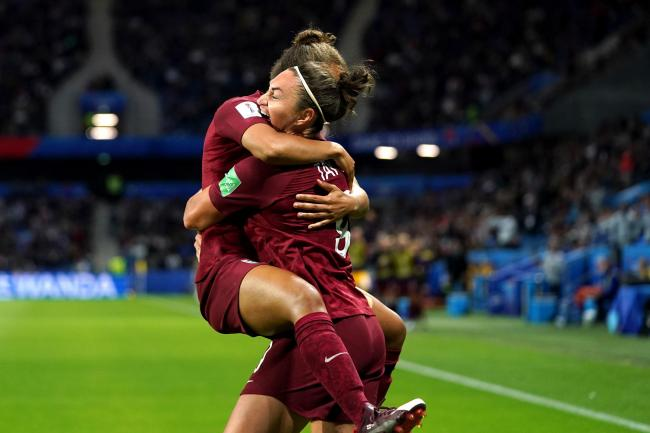 Jodie Taylor (right) celebrates her winning goal against Argentina